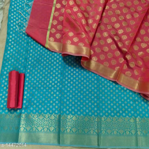 Banarsi Contrass Silk Suit (20Aqua Blue)