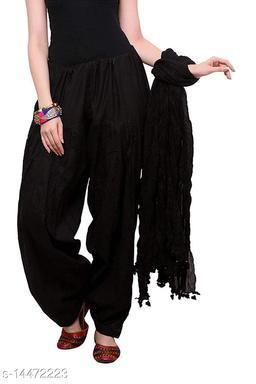 Craftmyntra Creations Women's Traditional Black Cotton Salwar With Dupatta