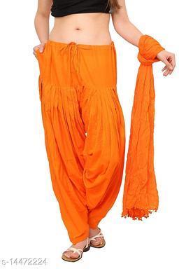 Craftmyntra Creations Women's Traditional Orange Cotton Salwar With Dupatta