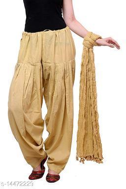 Craftmyntra Creations Women's Traditional Beige Cotton Salwar With Dupatta