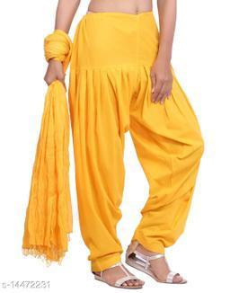 Craftmyntra Creations Women's Traditional Yellow Cotton Salwar With Dupatta