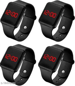 latest trendy Pack Of 4 Black Birthday Gifts Digital Watches For Age Group 8 to 19 Years Children-Kids