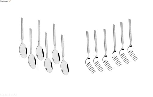 Kitchen4U 6 pc. Stainless Steel Table Spoon & 6 pc. Stainless Steel Fork Set