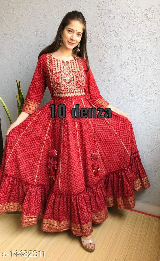 RAYON BEAUTIFUL TIER GOWN WITH LESH RED COLOR