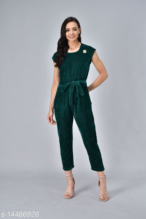 Rudraa women  green velvet  jumpauit