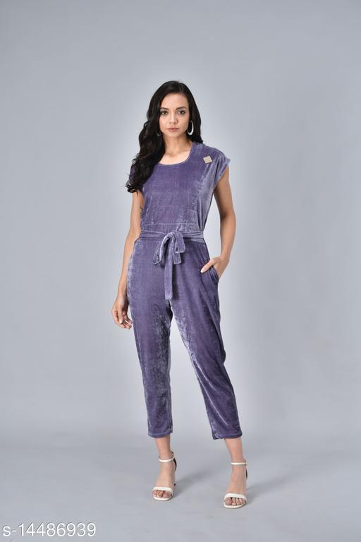 Rudraa women  purple velvet  jumpauit