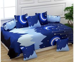 K2 PRESENTS ACE HEAVY GLACE COTTON DIWAN SETS (1 SINGLE BEDSHEET WITH 2 BOLSTER COVERS WITH 5 CUSHION COVERS ZIPPER BACK)