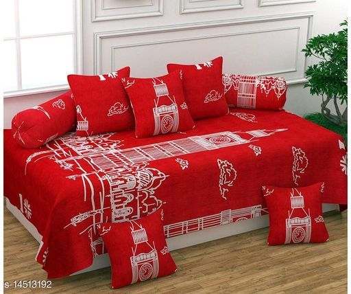 BEAUTIFULROOMS PRESENTS ACE HEAVY GLACE COTTON DIWAN SETS (1 SINGLE BEDSHEET WITH 2 BOLSTER COVERS WITH 5 CUSHION COVERS ZIPPER BACK)