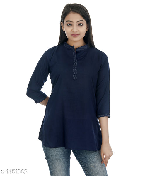 Kurtis & Kurtas Gorgeous Rayon Women's Short Kurti  *Fabric* Rayon  *Sleeves* 3/4 Sleeves Are Included  *Size* S - 36 in, M - 38 in, L - 40 in, XL - 42 in, XXL - 44 in  *Length* Up To  28 in  *Type* Stitched  *Description* It Has 1 Piece of Women's Short Kurti  *Pattern * Solid  *Sizes Available* XS, S, M, L, XL, XXL   Catalog Rating: ★4.2 (52) Supplier Rating: ★4.1 (748) SKU: DSC_0293_copy Shipping charges: Rs1 (Non-refundable) Pkt. Weight Range: 300  Catalog Name: Annabelle Gorgeous Rayon Zari work Womens Short Kurti Vol 2 - DOFORT Code: 043-1451362--144