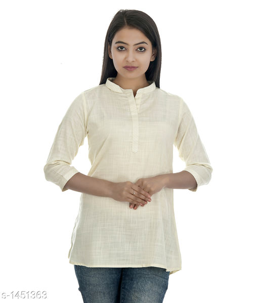 Kurtis & Kurtas Gorgeous Rayon Women's Short Kurti  *Fabric* Rayon  *Sleeves* 3/4 Sleeves Are Included  *Size* S - 36 in, M - 38 in, L - 40 in, XL - 42 in, XXL - 44 in  *Length* Up To  28 in  *Type* Stitched  *Description* It Has 1 Piece of Women's Short Kurti  *Pattern * Solid  *Sizes Available* XS, S, M, L, XL, XXL   Catalog Rating: ★4.2 (52) Supplier Rating: ★4.1 (748) SKU: DSC_0299_copy Shipping charges: Rs1 (Non-refundable) Pkt. Weight Range: 300  Catalog Name: Annabelle Gorgeous Rayon Zari work Womens Short Kurti Vol 2 - DOFORT Code: 043-1451363--144