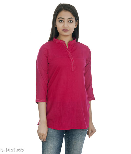 Kurtis & Kurtas Gorgeous Rayon Women's Short Kurti  *Fabric* Rayon  *Sleeves* 3/4 Sleeves Are Included  *Size* S - 36 in, M - 38 in, L - 40 in, XL - 42 in, XXL - 44 in  *Length* Up To  28 in  *Type* Stitched  *Description* It Has 1 Piece of Women's Short Kurti  *Pattern * Solid  *Sizes Available* XS, S, M, L, XL, XXL   Catalog Rating: ★4.2 (52) Supplier Rating: ★4.1 (748) SKU: DSC_0303_copy Shipping charges: Rs1 (Non-refundable) Pkt. Weight Range: 300  Catalog Name: Annabelle Gorgeous Rayon Zari work Womens Short Kurti Vol 2 - DOFORT Code: 043-1451365--144