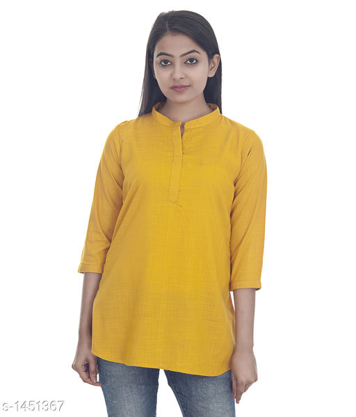 Kurtis & Kurtas Gorgeous Rayon Women's Short Kurti  *Fabric* Rayon  *Sleeves* 3/4 Sleeves Are Included  *Size* S - 36 in, M - 38 in, L - 40 in, XL - 42 in, XXL - 44 in  *Length* Up To  28 in  *Type* Stitched  *Description* It Has 1 Piece of Women's Short Kurti  *Pattern * Solid  *Sizes Available* XS, S, M, L, XL, XXL   Catalog Rating: ★4.2 (52) Supplier Rating: ★4.1 (748) SKU: DSC_0283_copy Shipping charges: Rs1 (Non-refundable) Pkt. Weight Range: 300  Catalog Name: Annabelle Gorgeous Rayon Zari work Womens Short Kurti Vol 2 - DOFORT Code: 043-1451367--144