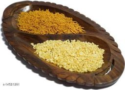 Indian Wood Crafts Wooden Leaf Dry Fruits, Snacks Tray