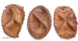 Indian Wood Crafts Wooden Leaf Dry Fruits, Snacks Tray Set of 3