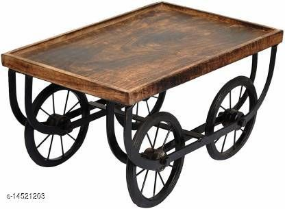 Indian Wood Crafts Wood Cart, Snack Serving Platter for Dining Table Tray Serving Set