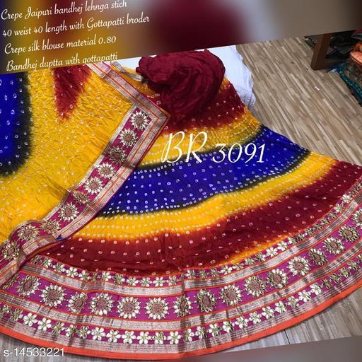 PK MART Women's Jaipuri Crepe Lehenga Choli with Art Silk bandhej Dupatta Gota Patti Work