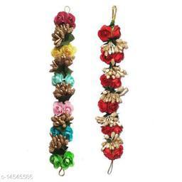 VinshBond Flower Gajra Bun Juda Maker Flower Gajra Hair Accessories For Women and Girls Pack-02,Color-Multi