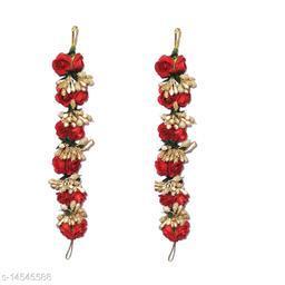 VinshBond Pack of 2, Flower Hair Gajra, Flower Gajra Bun | Juda  Hair Accessories for Women Girls , Red