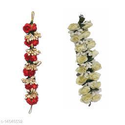 VinshBond Pack of 2, Fancy Red & White Flower  Hair Gajra, Flower Juda Gajra | Juda Bun Hair Accessories for Women Girls