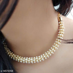 Women's Gold Plated American diamond Necklace Jewellery Set with Matching Earrings