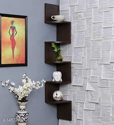 Domestic Point Wooden Zigzag/Corner/Wall Mount/Wall Shelf/Unit/Rack/Hanging/Decor/Gift Item (Brown)