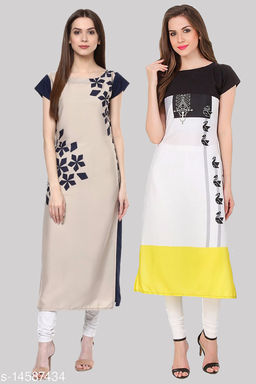 Women's Crepe A-Line Printed Stitched Kurtis (Pack of 2 Kurtis)
