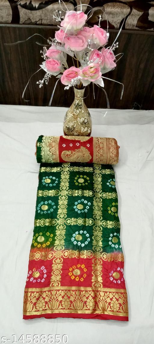 Woman banarasi silk saree with heavy zari blouse