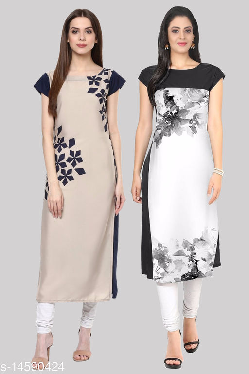 Women's Crepe A-Line Printed  Gorgeous Stitched Kurtis (Pack of 2 Kurtis)