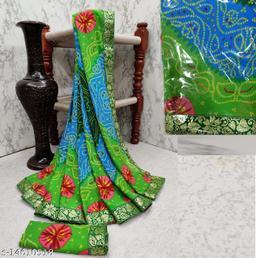 Kanooda Prints Bandhani Print Heavy Designer  Goft Georgette Saree With Blouse Piece