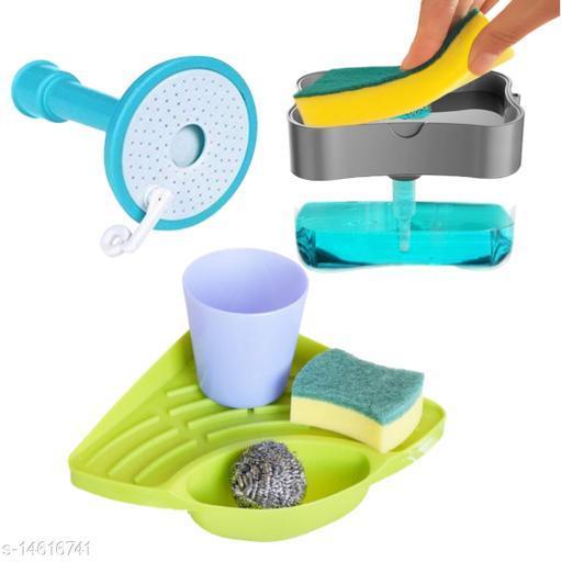 Climya || 2 in 1 Soap Pump Dispenser for Dishwasher Liquid, Sponge Holder with Sink Corner and Sponge Whit Faucet