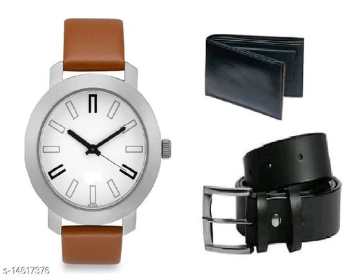Classy New design Analogue Watch,Belt And Wallet Combo