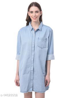 Women Blue Boyfriend Fit Solid Longline Denim Casual Shirt