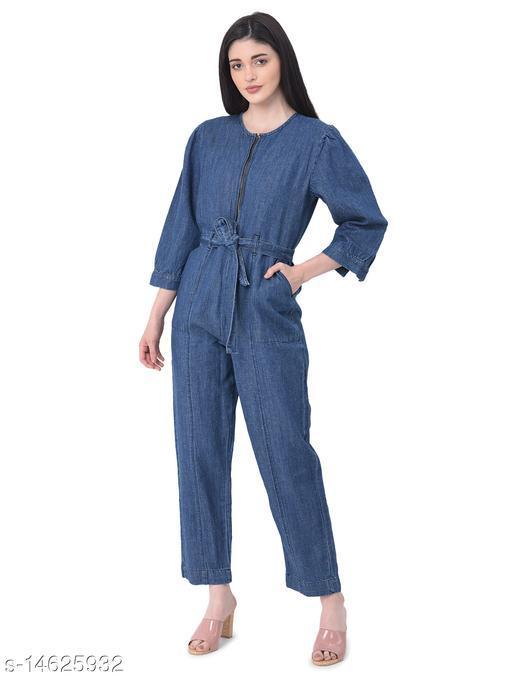 REALM Women Solid Blue Denim Jumpsuit