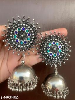 Oxidised silver stunning blue green stud jhumki earrings for women & girls