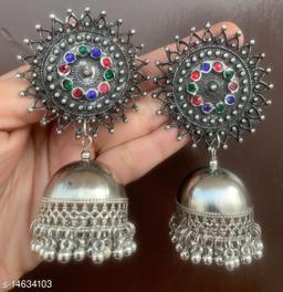 Oxidised silver stunning multi stud jhumki earrings for women & girls