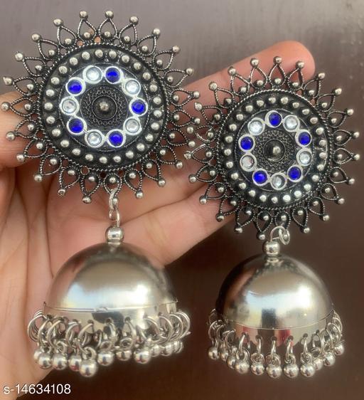 Oxidised silver stunning blue white stud jhumki earrings for women & girls