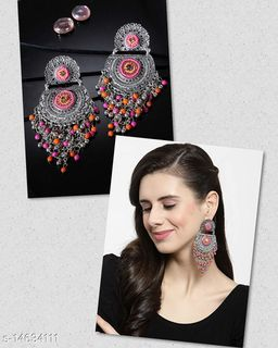 Oxidised silver pink jaal earring