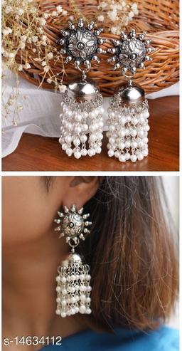 Oxidised Silver pearl chandiler earring