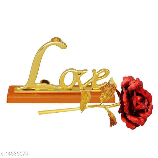 EASTERN CLUB  Gold Plated Red Rose, 11-inch with Love Stand