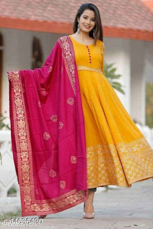 Women Rayon Anarkali Printed Yellow Kurti