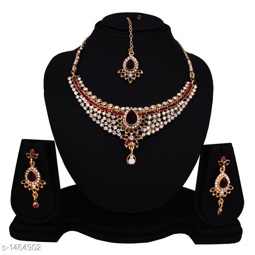 Jewellery Set  Beautiful Alloy Jewellery Set  *Material* Alloy  *Size* Free Size  *Length* Necklace - 4 in, Earring - 2 in, Maang Tikka - 4 in  *Description* It Has 1 Piece Of Necklace, With 1 Pair Of Earring & 1 Piece Of Maang Tikka  *Work* Stones & Beads Work  *Sizes Available* Free Size *    Catalog Name: Feminine Beautiful Alloy Jewellery Sets CatalogID_190082 C77-SC1093 Code: 313-1464902-