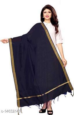 Cotton Silk Solid NAVY BLUE Women Dupatta