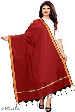 Cotton Silk Solid MAROON Women Dupatta