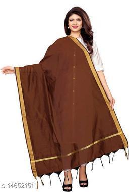 Cotton Silk Solid BROWN Women Dupatta