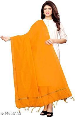 Cotton Silk Solid Yellow Women Dupatta