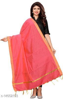 Cotton Silk Solid PINK Women Dupatta