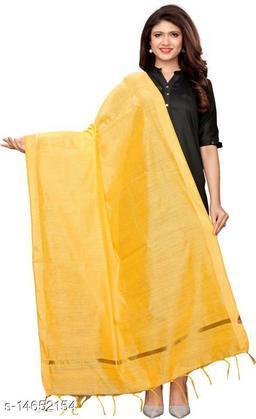 Cotton Silk Solid LIGHT YELLOW Women Dupatta