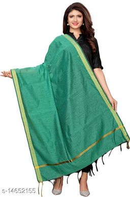 Cotton Silk Solid SOILD GREEN Women Dupatta