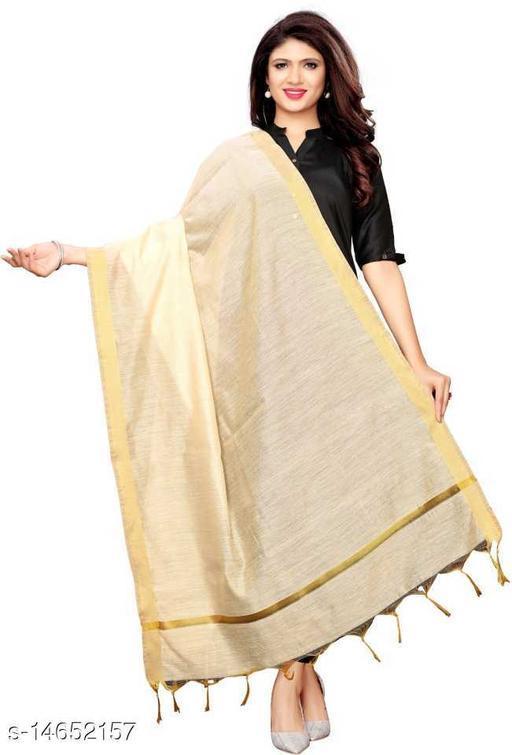 Cotton Silk Solid LIGHT GOLD Women Dupatta