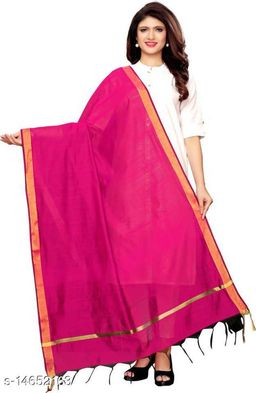 Cotton Silk Solid DARK PINK Women Dupatta